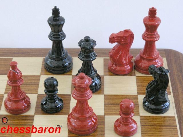 American Staunton In Black Red Gloss Chess Set
