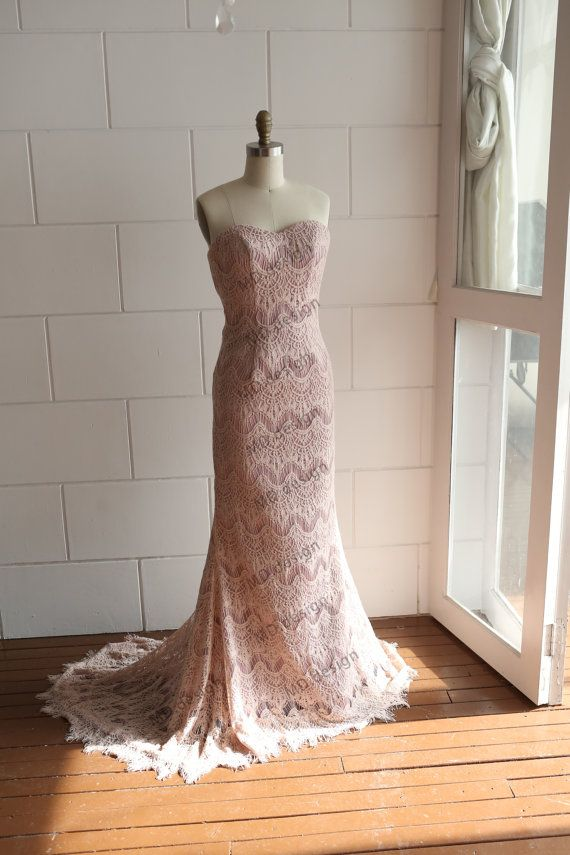 c602c03a2c25 Vintage Dusty Pink/Blush Pink Eyelet Lace Wedding Dress/Bridesmaid Dress/Prom  Dress with Sash