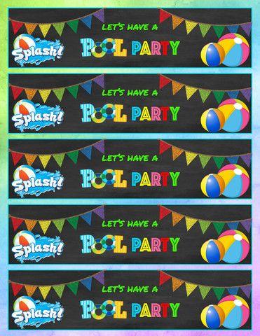 Mermaid Birthday Pool Party Printable Water Bottle Labels