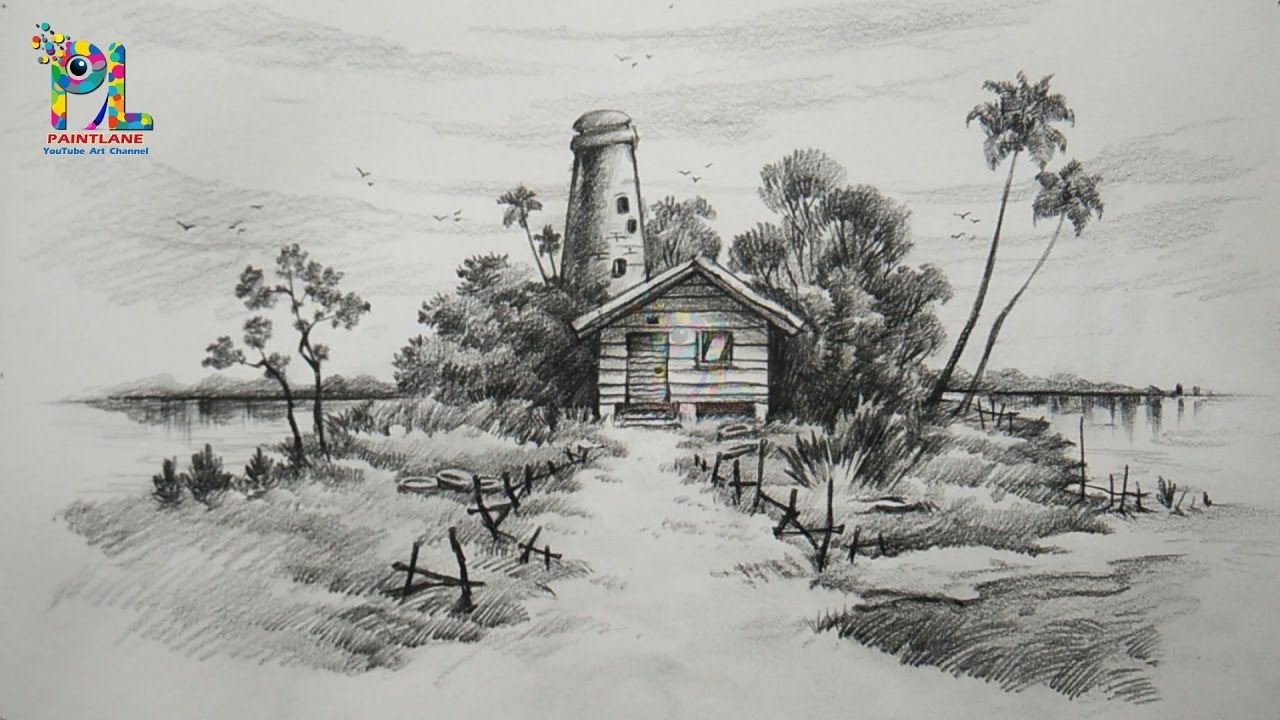 Learn Easy Simple Shading A Landscape With Pencil Landscape Pencil Art Landscape Drawing Easy Landscape Drawings Landscape Pencil Drawings
