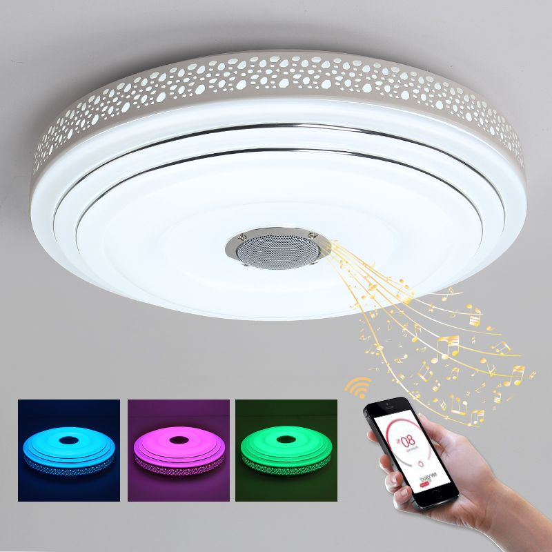 Ceiling Lights & Fans Ceiling Lights Nice Rgb Dimming Led Light Ceiling With Phone Bluetooth And Remote Control Smart Round Flush Mount Light For Lampara De Techo Abajur
