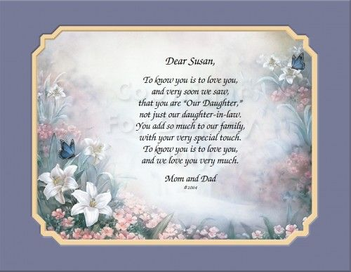 Daughter In Law Personalized Poem: Personalized Lilies Mother In Law To Daughter In Law Gift