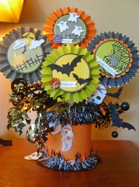 halloween rosette centerpiece decoration by risa cards and paper crafts at splitcoaststampers - Halloween Centerpieces