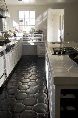 Comment Camoufler Et Cacher Un Sol En Carrelage Painted Kitchen Floorsflooring