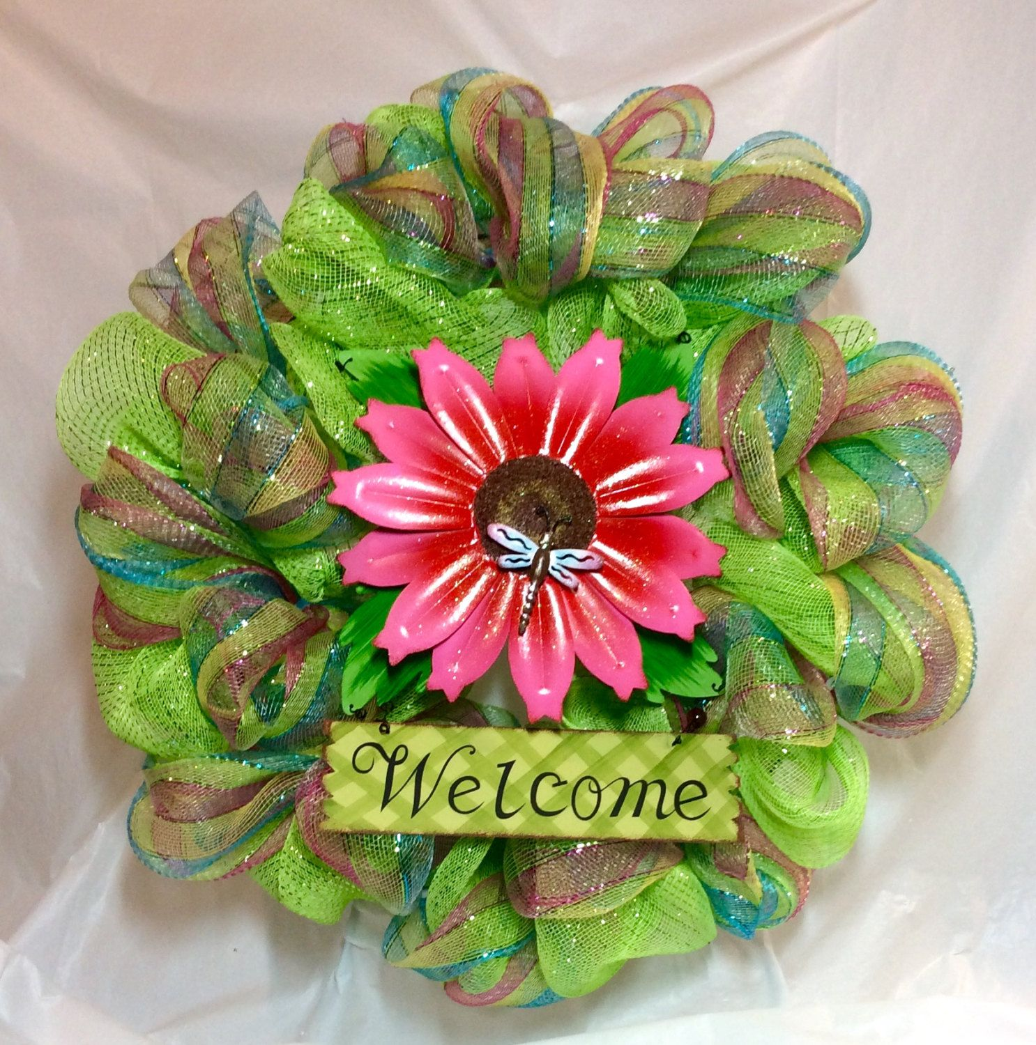 "Summer wreath. Welcome sign, 10"" pink daisy with dragonfly surrounded by lime green and blue, yellow, pink, green stripe mesh. 22"" wreath. by KhQualityCreations on Etsy"
