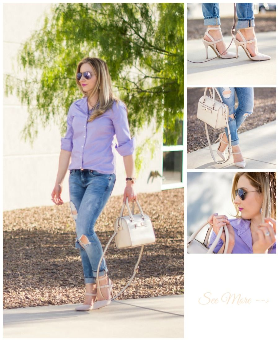 ray-ban mirrored aviators lilac, j.crew purple top, blank denim distressed skinny jeans, kate spade bow bag, too faced melted lipstick in violet