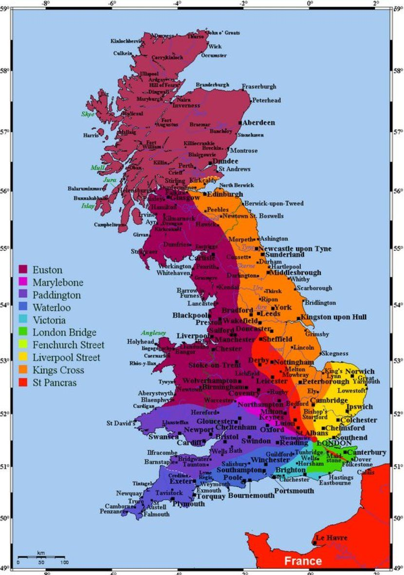 This Map Shows You Which London Train Station Goes To Which Part Of The Island Vivid Maps Map Of Britain London Map London