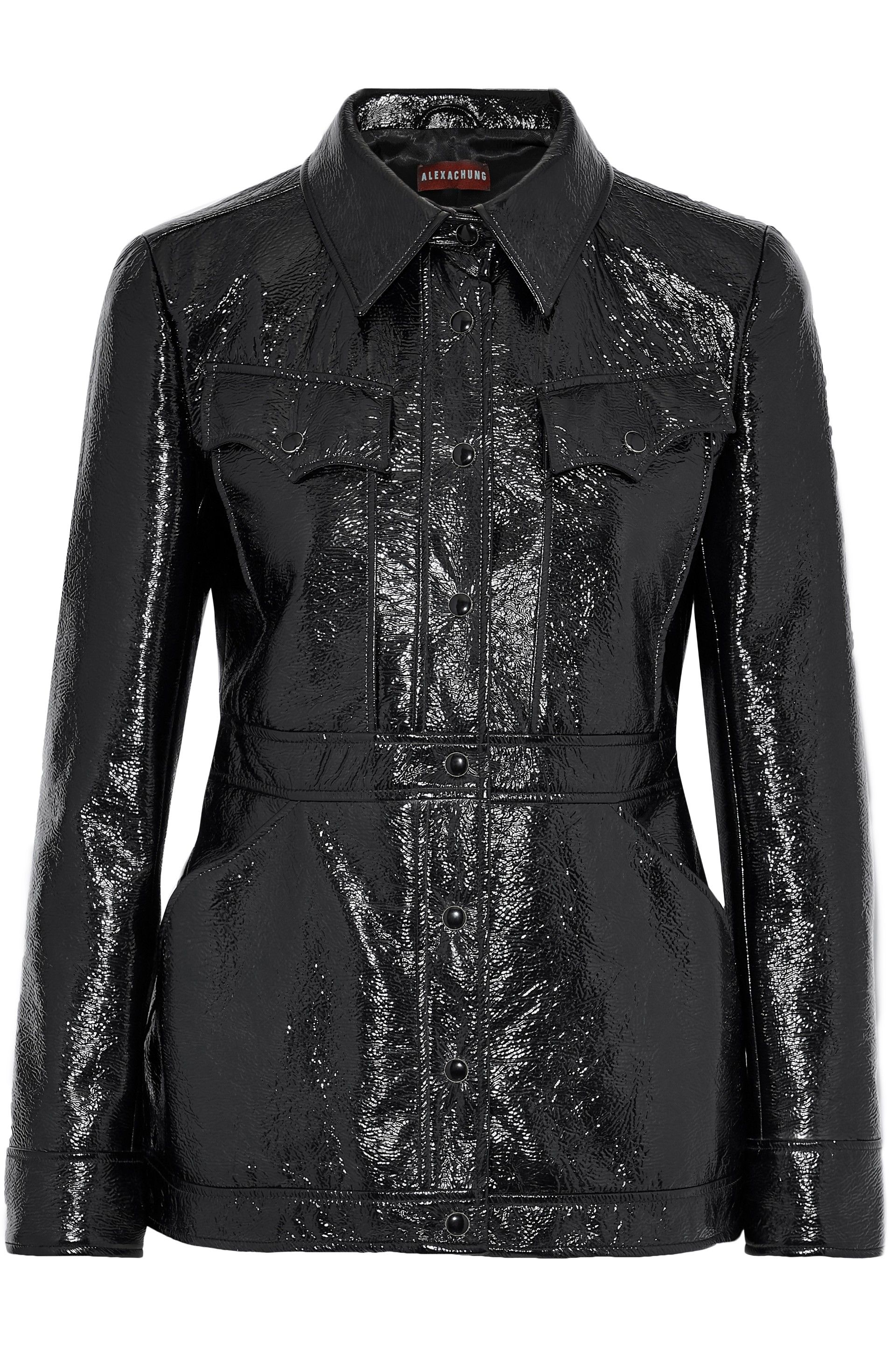 Crinkled faux patentleather jacket Leather jackets for