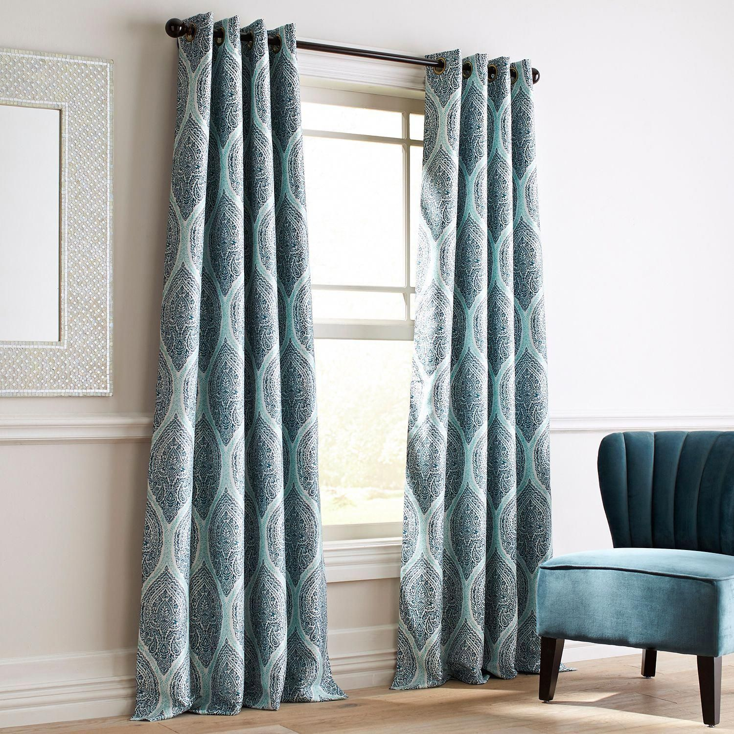 Teal Blackout Curtains Reese Teal Grommet Blackout Curtain Pier 1 Imports