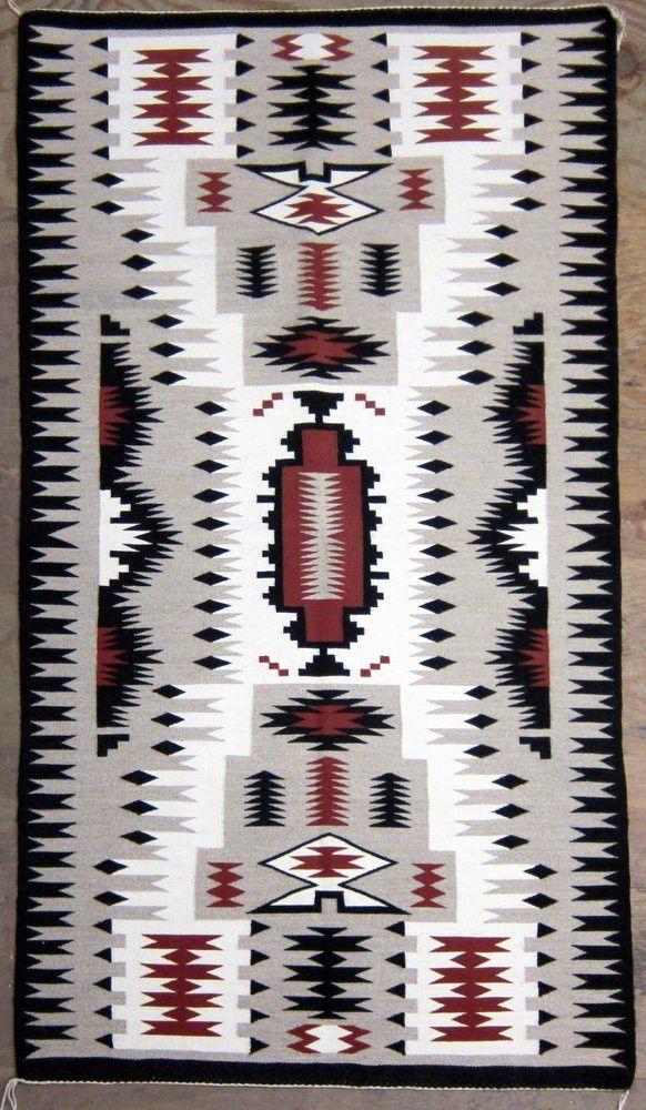 Native American Navajo Hand Woven Storm Pattern Rug Weaving Ca 1970 90