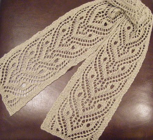 Beautiful lace scarf using the Tiger Eye Pattern from Ravelry.
