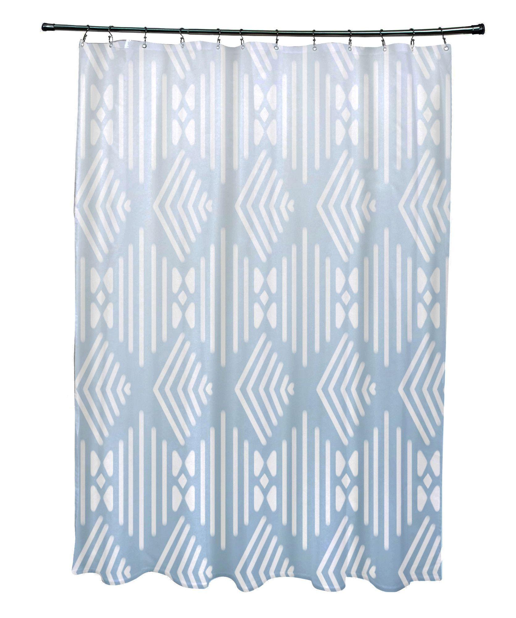Fishbones Geometric Print Shower Curtain Blue Shower Curtains