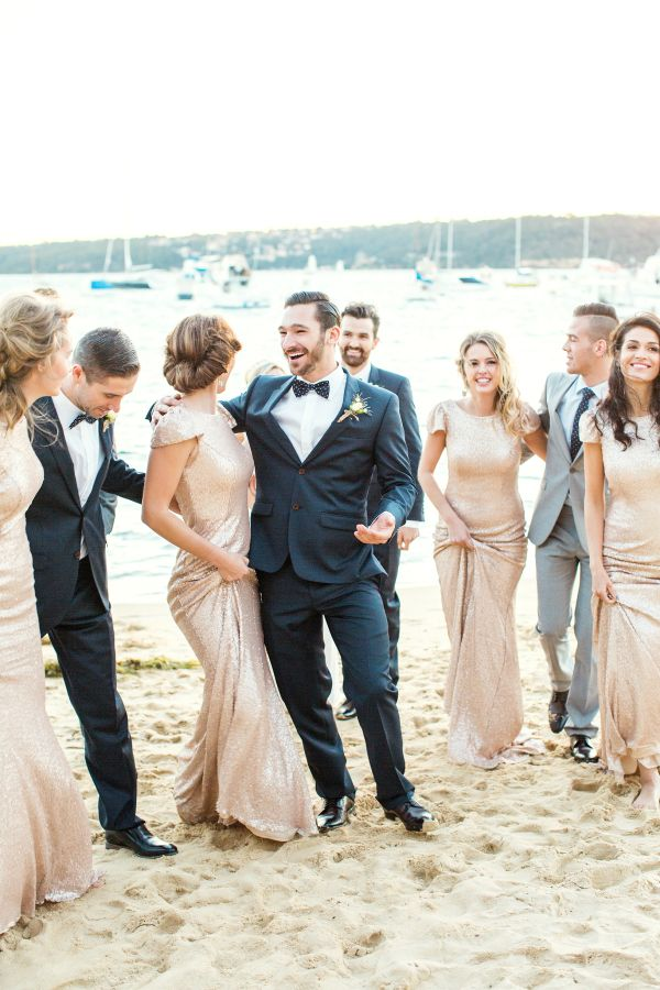 Roz la Kelin Wedding Dress & Gold sequined bridesmaid dresses for Seaside Glam wedding