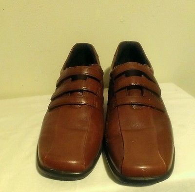 Ecco Women's Brown Shoes Size 41 10 10.5 Light Shock point with 3 Velcro  Strips
