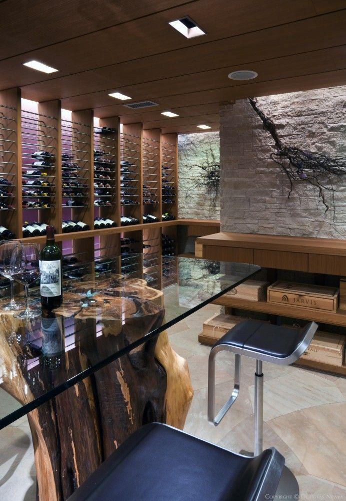 Elegant Wine Cellar in Glen Abbey Contemporary Estate Home