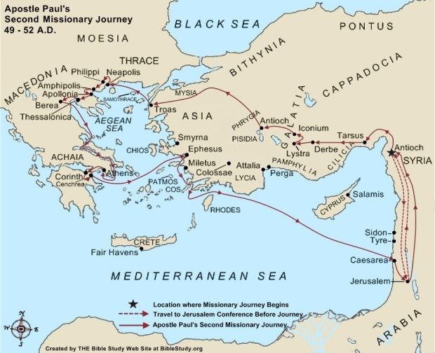 Travel In Greece Pauls Second Missionary Journey Large Map