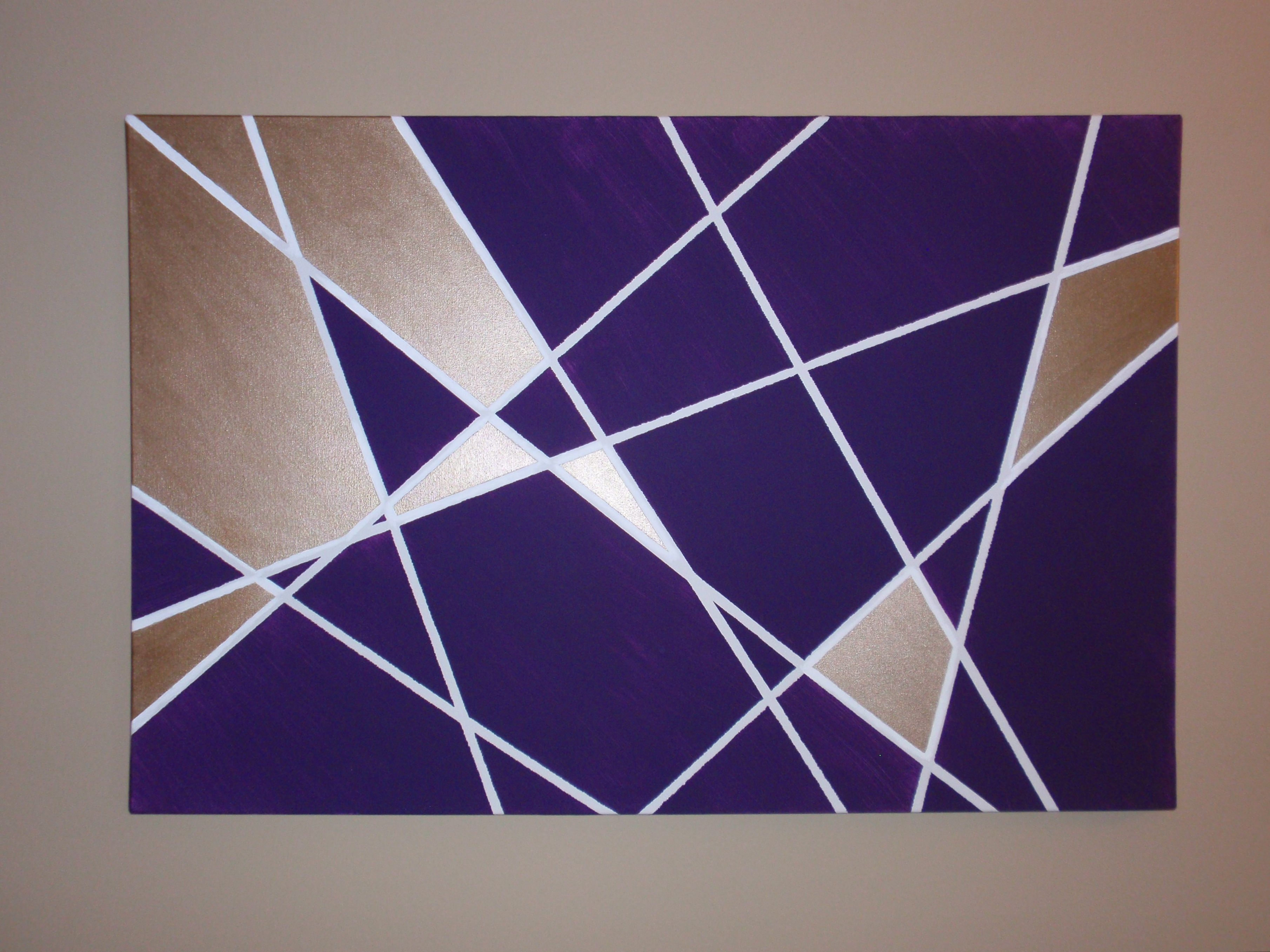 Wall art ideas design purple rectangle geometric wall art home decoration