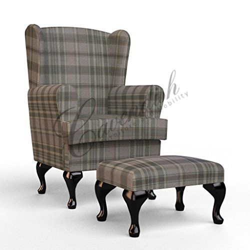 High Seat Chair For Elderly Walmart Kids Table And Set A Gently Supportive Upholstered Arms Soft On Elbows Hard Wearing Designer Tartan Fabric That Is Comfortable