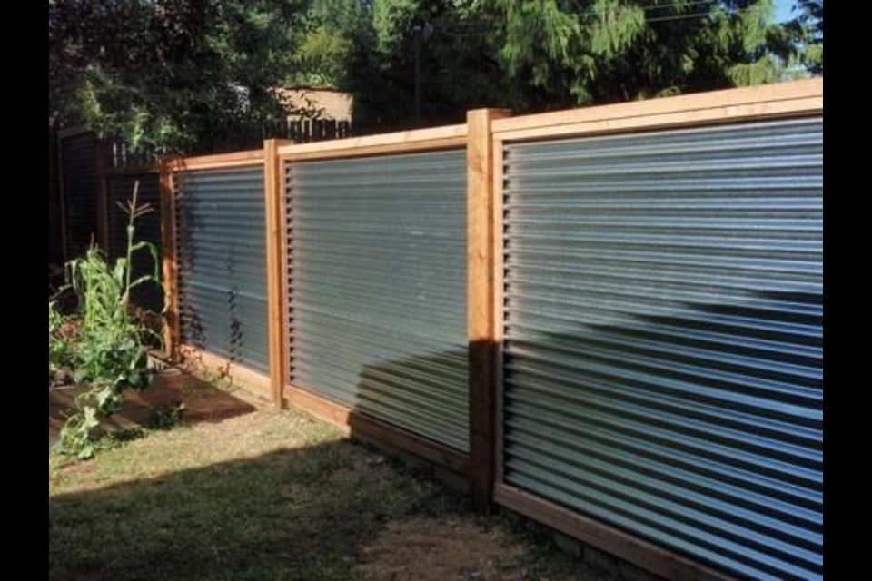 Galvanized Corrugated Roof Panels Love It Corrugated Metal Fence Privacy Fence Designs Fence Design