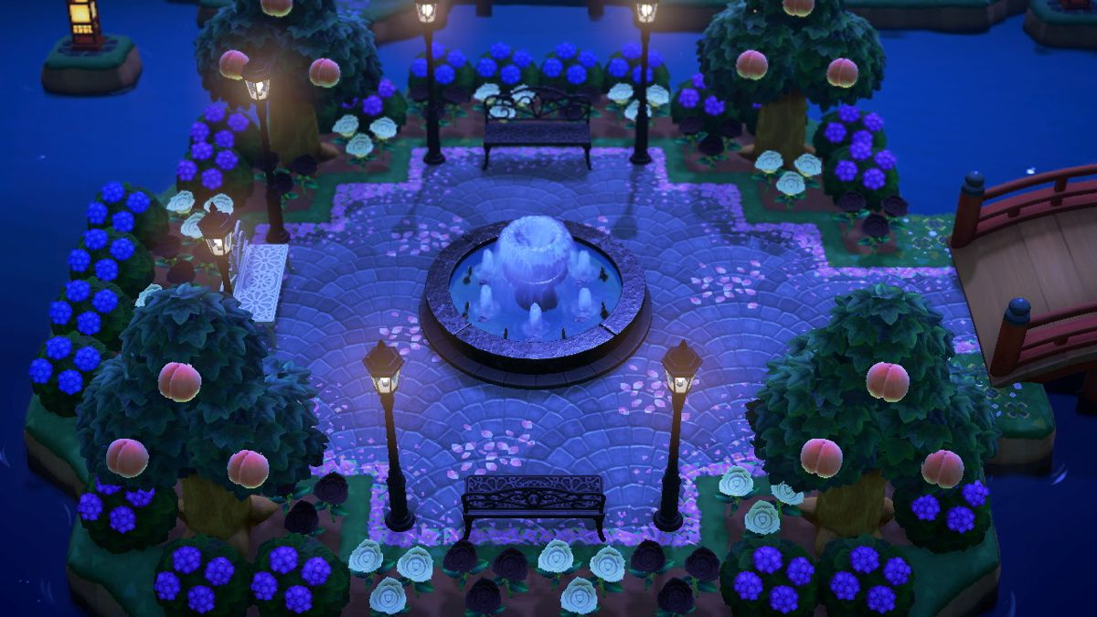 town plaza at night in 2020 | Animal crossing, Fountain ...