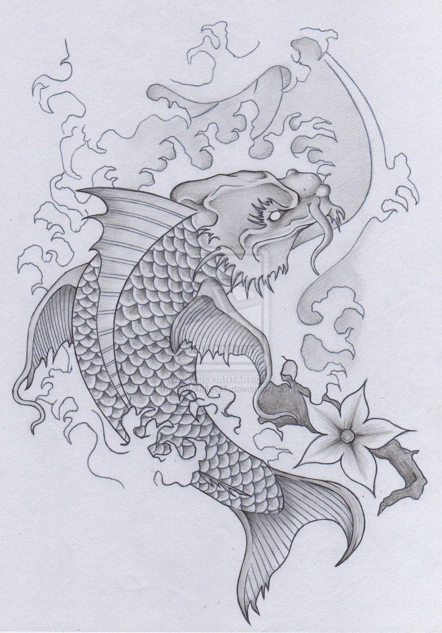 Japanese koi dragon tattoo skull samurai pt 2 by for Japanese koi dragon
