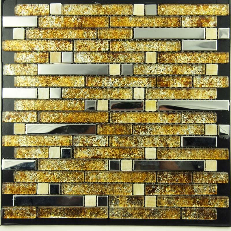 Metal and Glass Silver Stainless Steel Backsplash Wall Tiles Gold ...