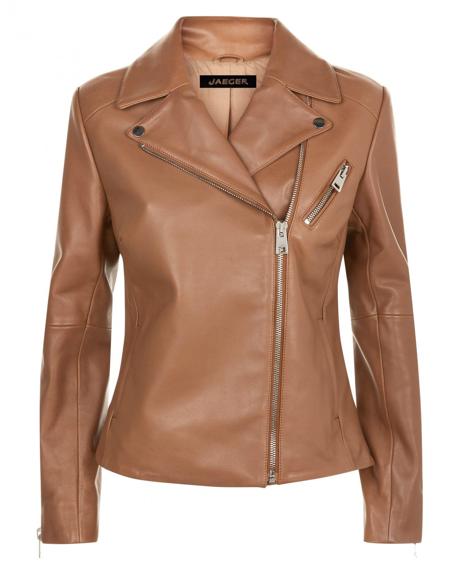 Leather Zip Biker Jacket Jaeger Motorcycle jacket