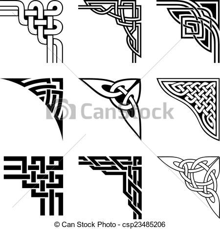 Celtic Corner Border Patterns Vector clipart of celtic corners set ...