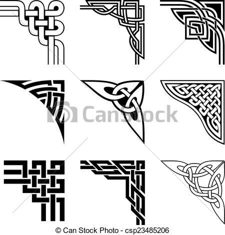 Celtic Corner Border Patterns Vector clipart of celtic ...