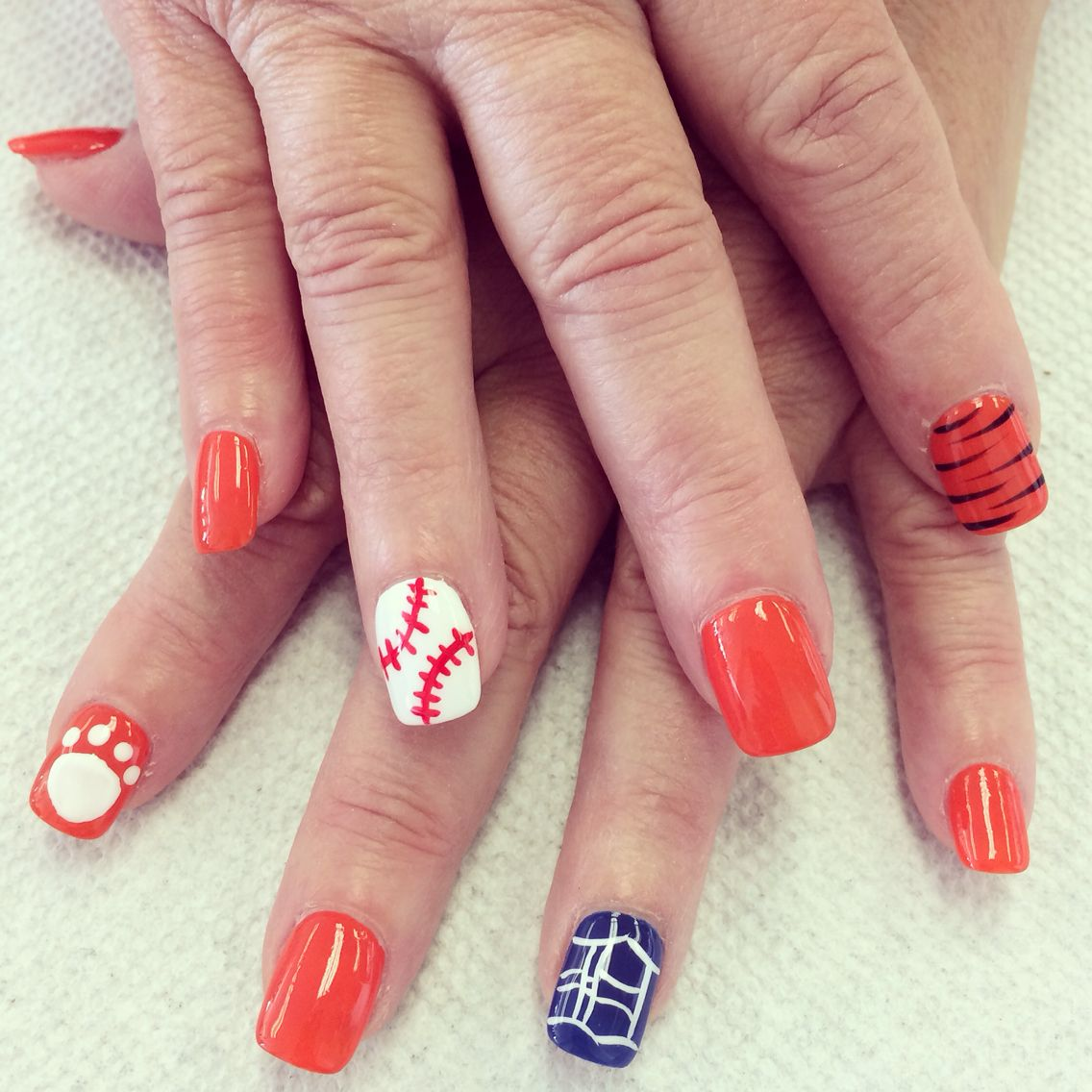Detroit Tiger nail art design | nails | Pinterest | Tiger nail art ...