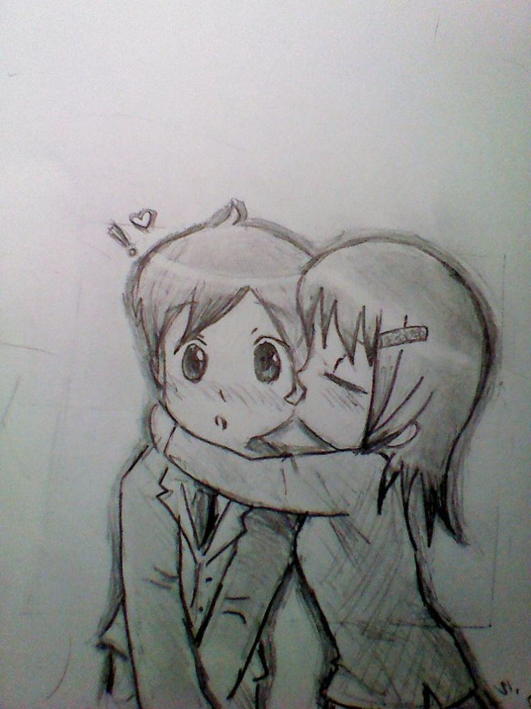 Cartoon Love Pic Pencil Drawing Black And White