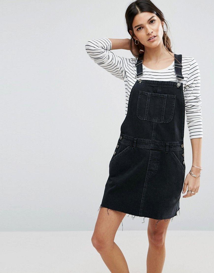 ASOS Denim Overall Dress in Washed Black Black | Denim