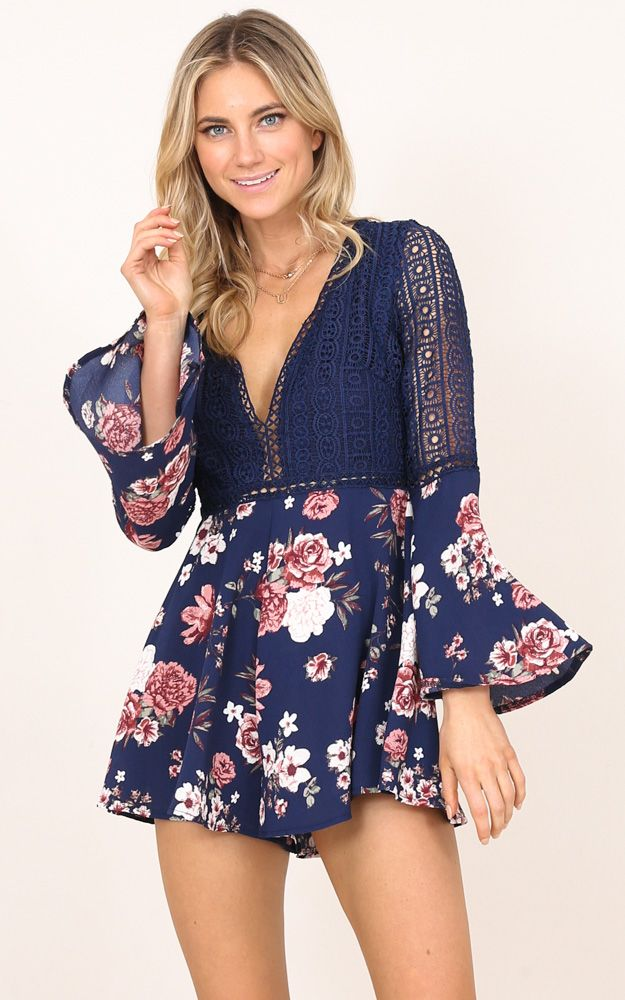 b1727e2fcc59 Showpo Drive You Crazy playsuit in navy floral - 10 (M) Rompers
