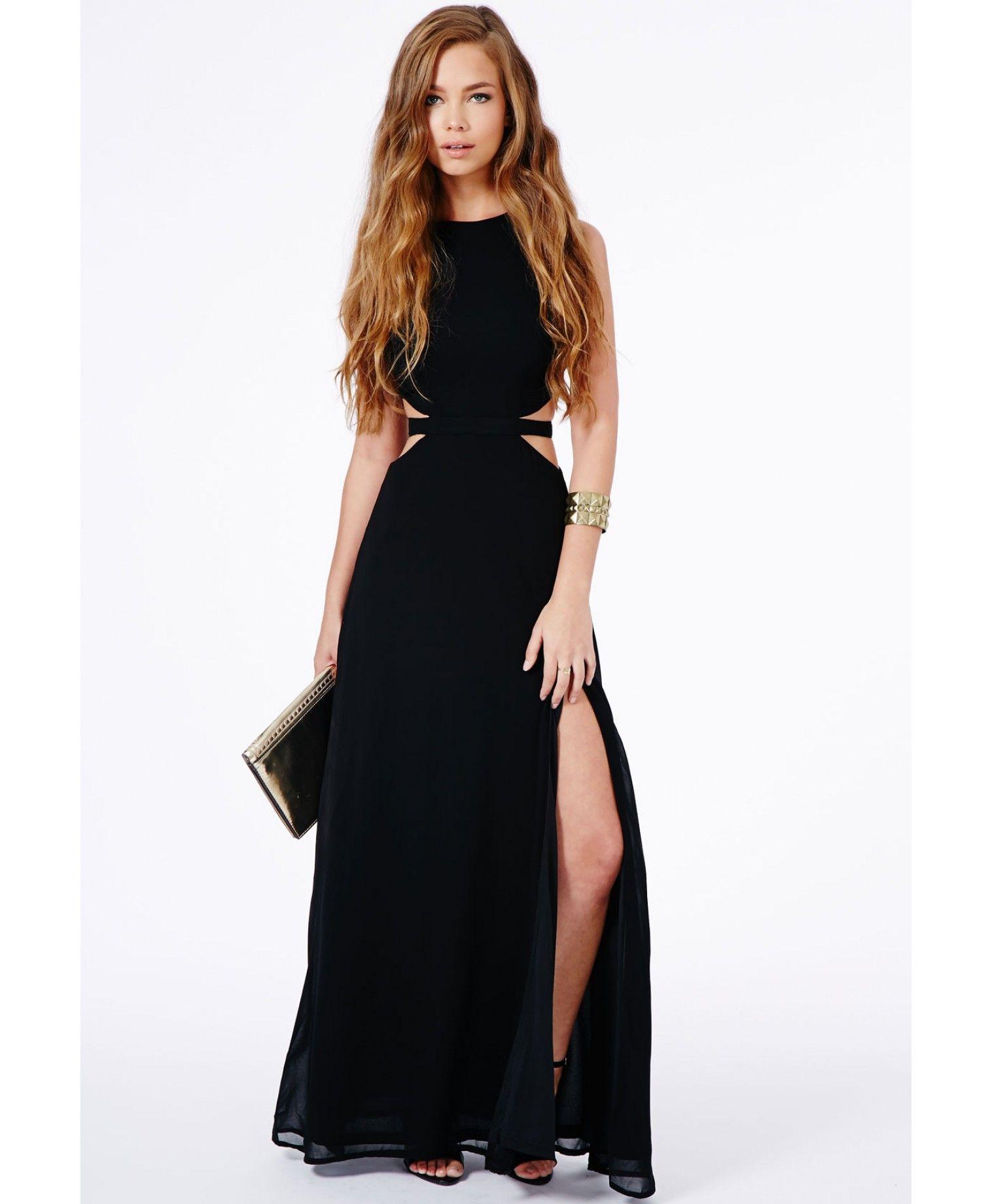 Anthea cut out split maxi dress black dresses pinterest