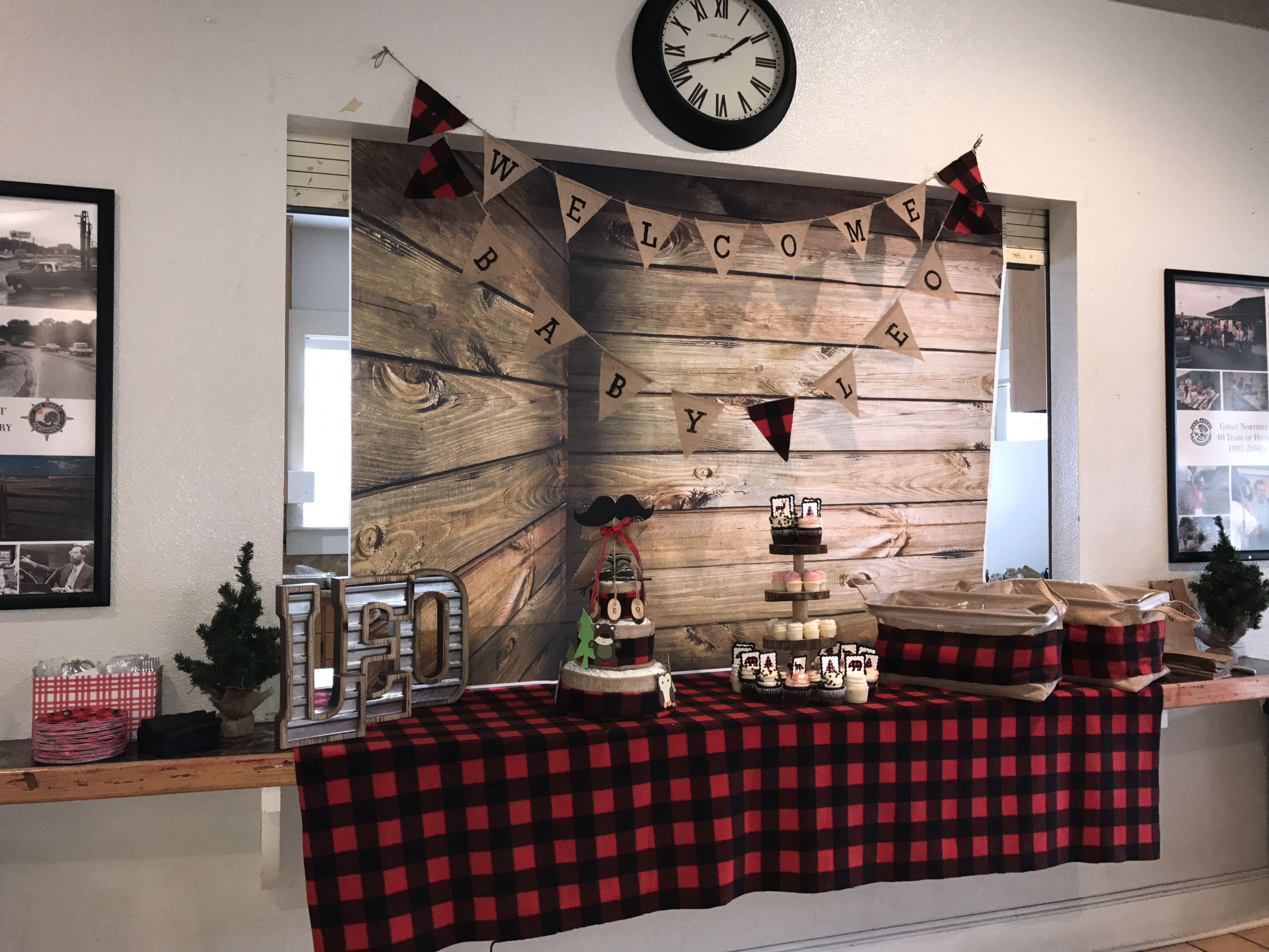 Dessert Table Set Up For Lumberjack Themed Baby Shower Wooden