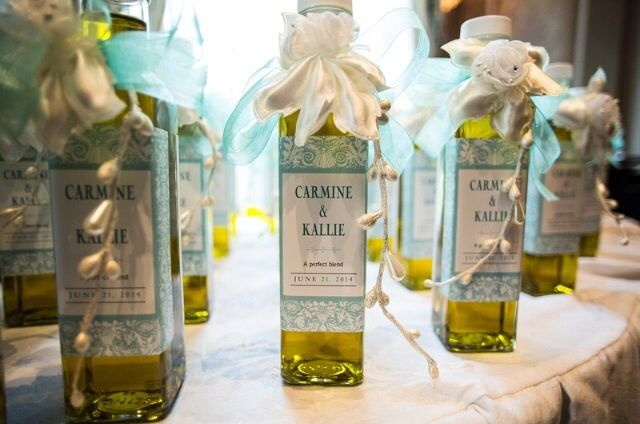"From Kallie Santarella. Check out her beautiful #wedding favors - glass bottles, filled with extra virgin olive oil imported from Greece and decorated with Evermine ""Provencale"" style #labels!  SHOP Provencale Labels: http://www.evermine.com/wedding_labels/PR-28/"