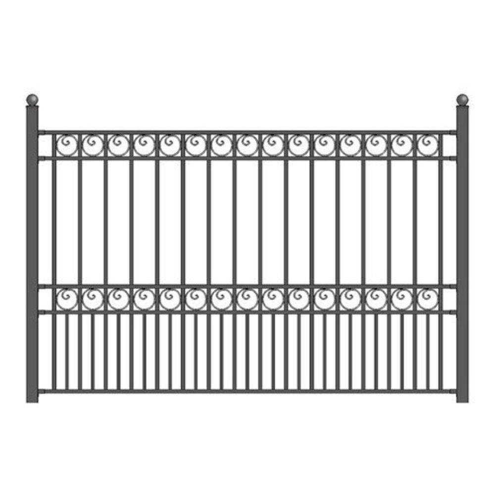 Aleko Paris Style 5 Ft X 8 Ft Black Iron Fence Panel Fencepar Hd