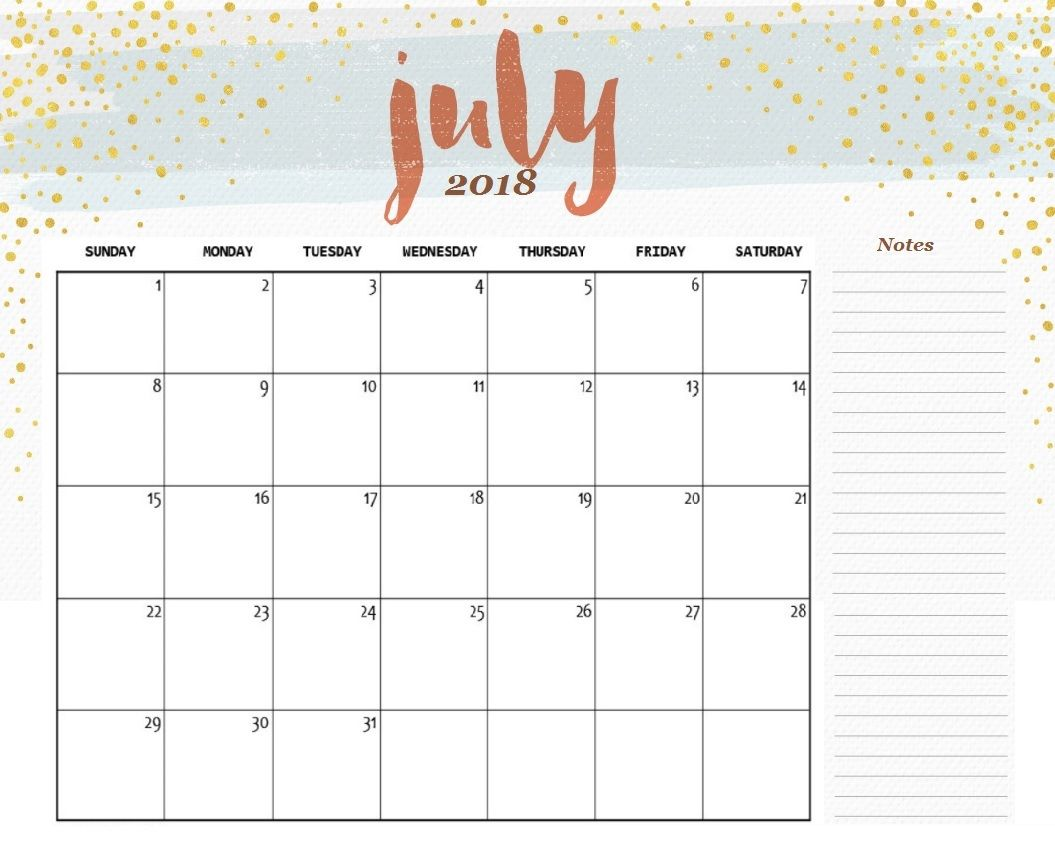 Printable Editable July 2018 Calendar Calendar 2018 Pinterest