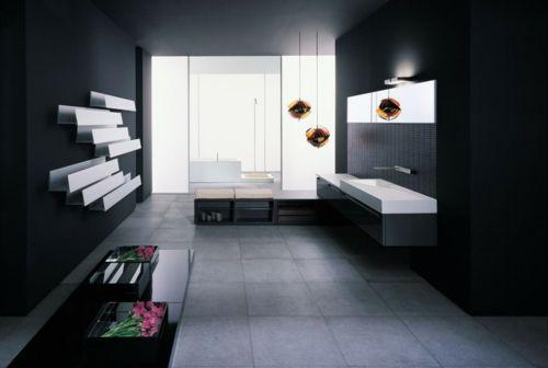 33 Dunkle Badezimmer Design Ideen   Bad Einrichtung Manimalistisch Schwarz  Weiß Kontrast Blumen Modern Bathroom Minimalistic Look
