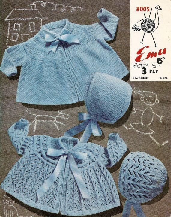 PDF Knitting Pattern Baby's Matinee Coats & Bonnets 3 Ply ...