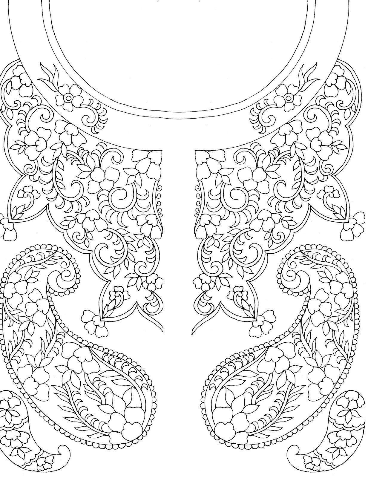 Kashmiri hand embroidery patterns - Google Search | Neckline Designs ...