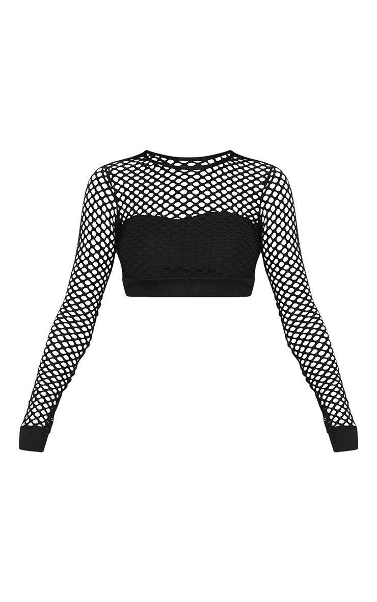 Black Fishnet Long Sleeve Crop Top