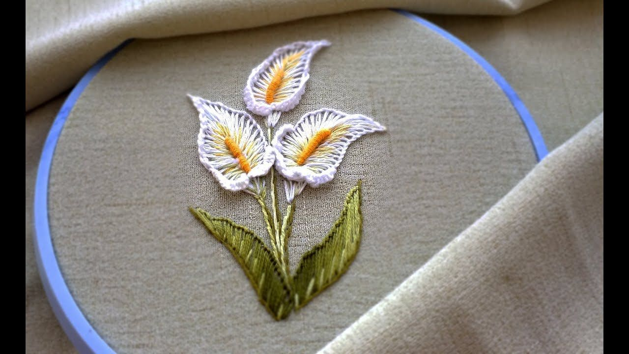 HAND EMBROIDERY: FLOWERS   ВЫШИВКА: КАЛЛЫ #embroiderypatternsbeginner