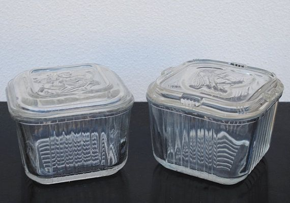 vintage glass storage containers REFRIGERATOR CONTAINERS