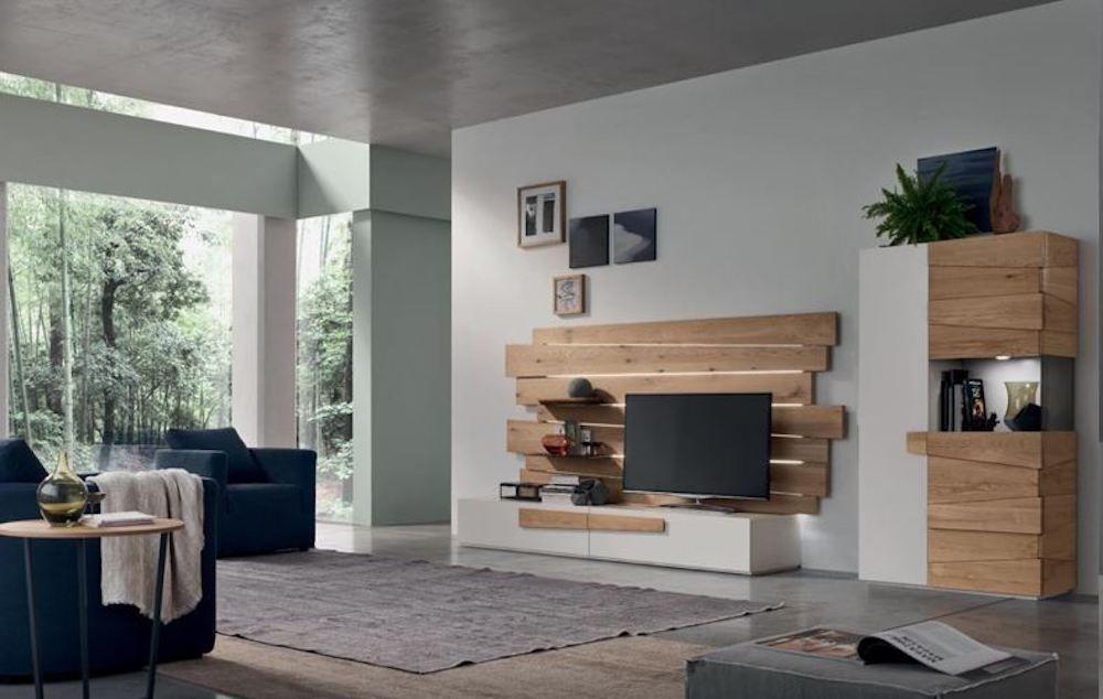 soggiorno moderno parete attrezzata industrial rovere natural ...