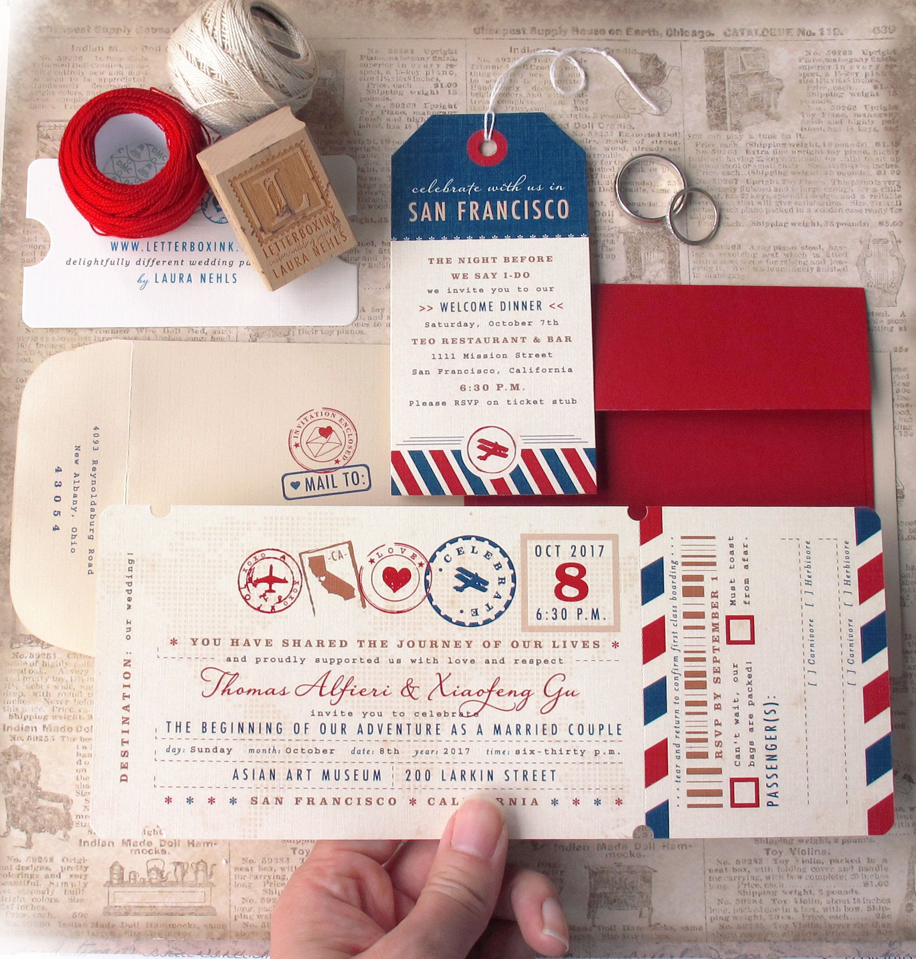 Colorful and elegant destination Boarding Pass Ticket invitation ...