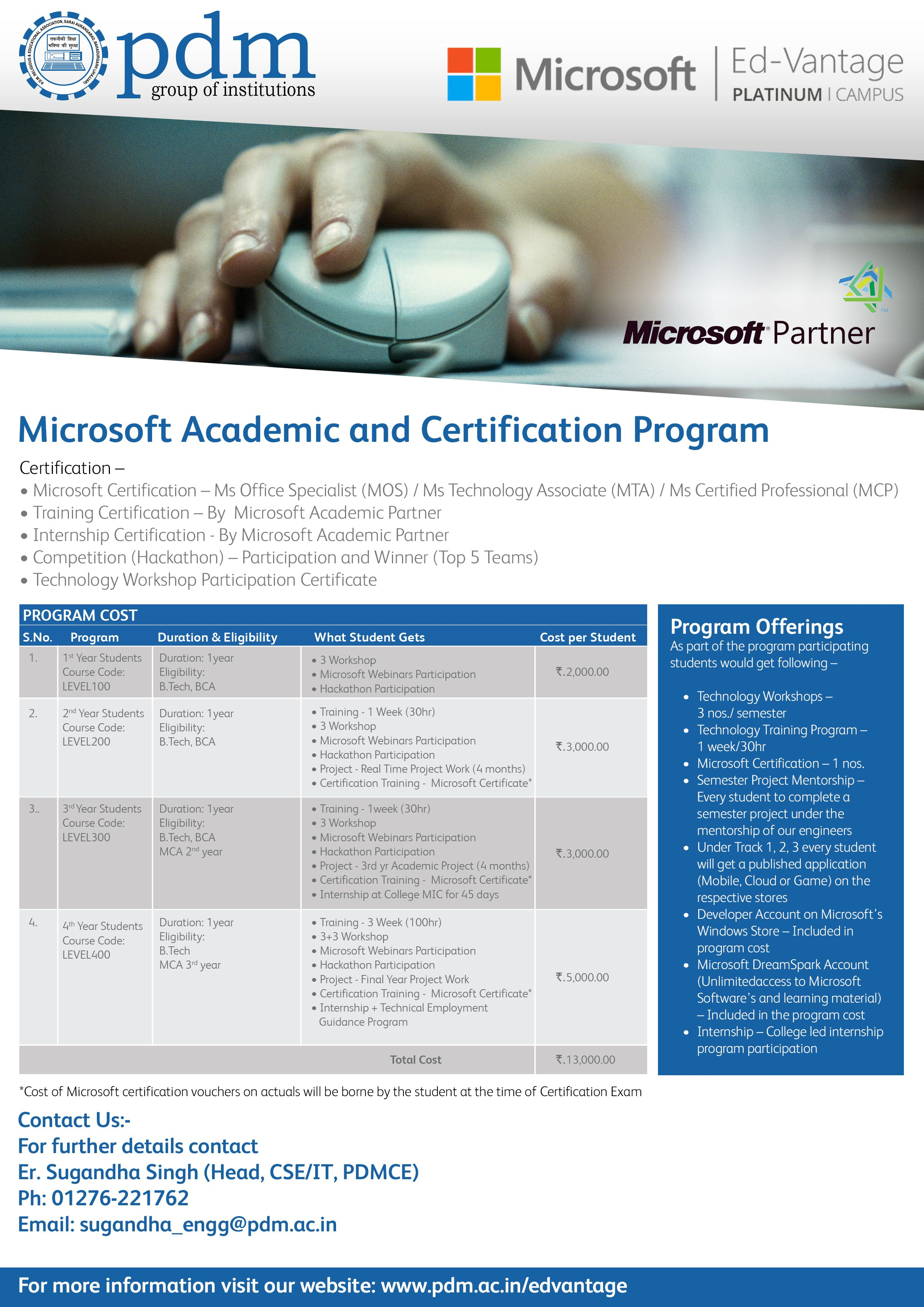 Pdm Group Of Institutions Microsoft Academic And Certification