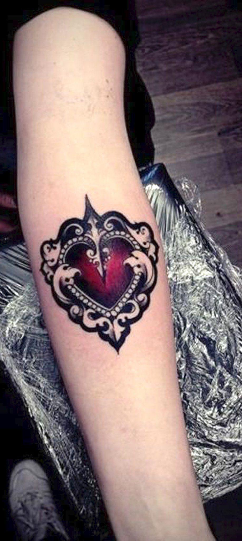 Vintage Victorian Red Heart Forearm Tattoo Ideas ideas