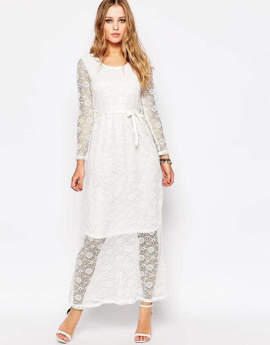 15730d9249 Asos Long Sleeve White Maxi Dress | Saddha