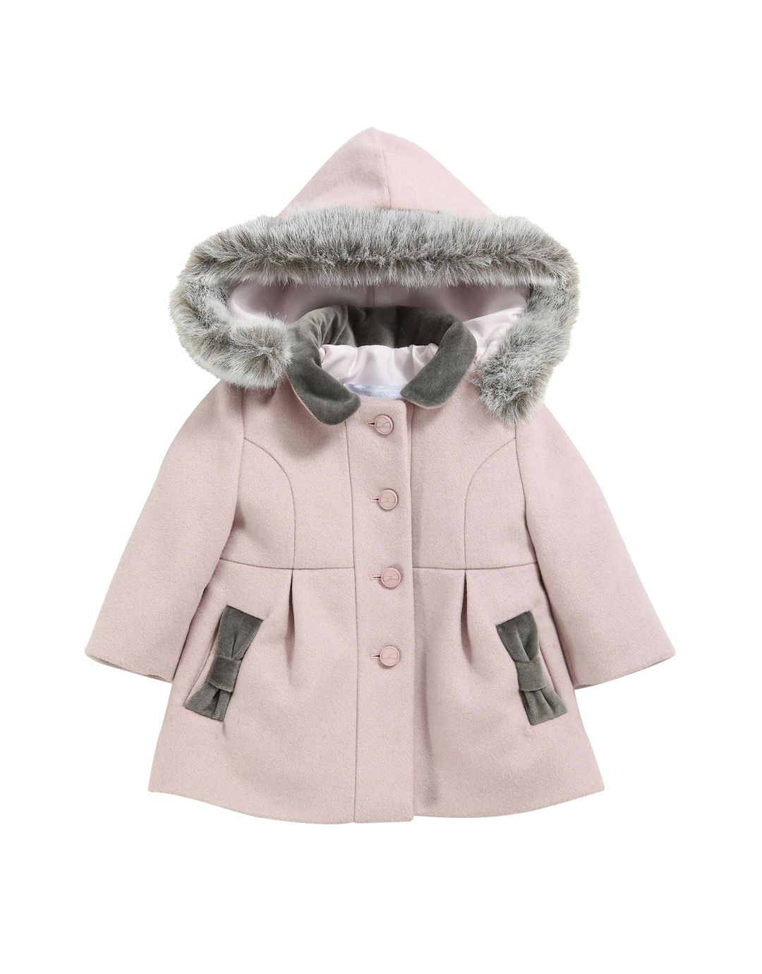 TARTINE ET CHOCOLAT Baby Girl Pink Wool Coat with Faux Fur Trim ...
